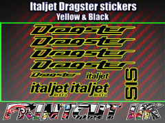Italjet Dragster Decals Stickers YELLOW & BLACK 9 piece set 50 70 125 172 180